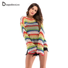 DRL New Design Female Hollow Out Knitted Sweater Long Flare Sleeve Wear Casual Loose Pullover Women Autumn Jumper