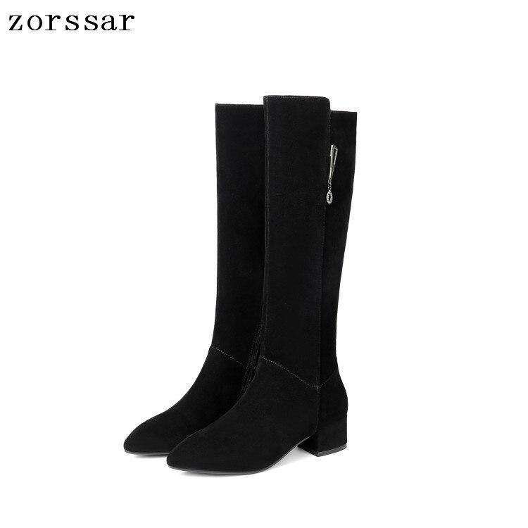 {Zorssar} Cow Suede Leather High boots Women Knee High Boots High Heels Women Shoes Winter Boots Warm Fur Inside High Quality epik high seoul