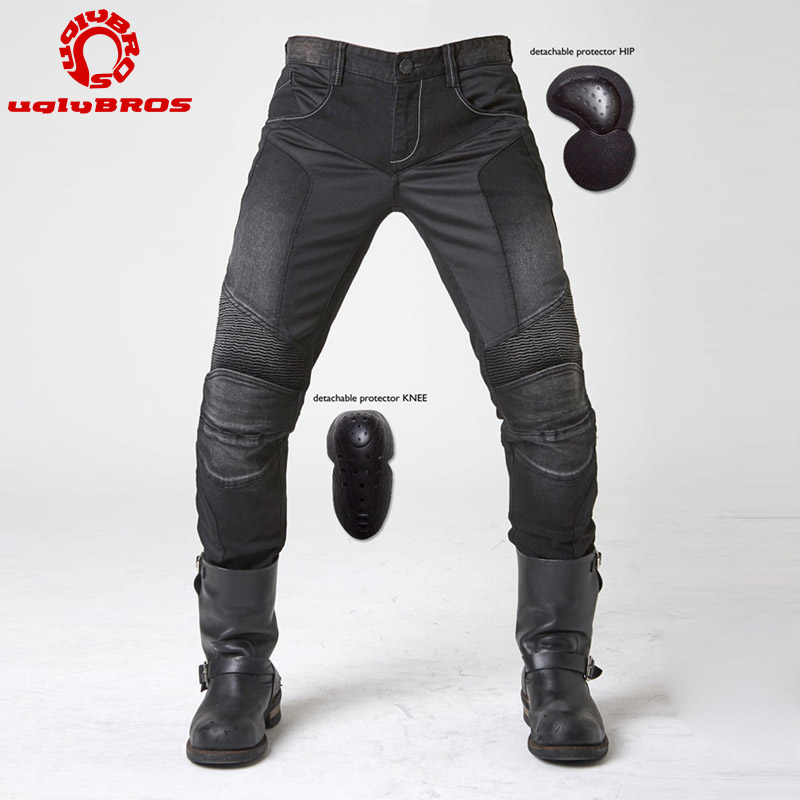 Sale!Motorcycle Riding Protective Jeans Fashion Retro UglyBROS Blue Cycling Pants MOTO/ATV Racing Trousers with Protectors Men uglybros vegas jeans hidden side of the knee motorcycle riding motorcycles jeans trousers blue
