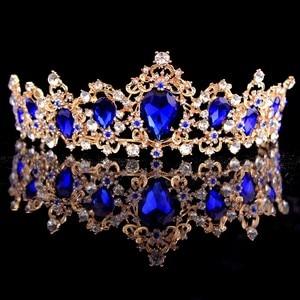 Корона в стиле барокко, красная, синяя, зеленая, Хрустальная Свадебная Корона-тиара, винтажные золотые аксессуары для волос, свадебные, со стразами, диадема, короны для торжеств