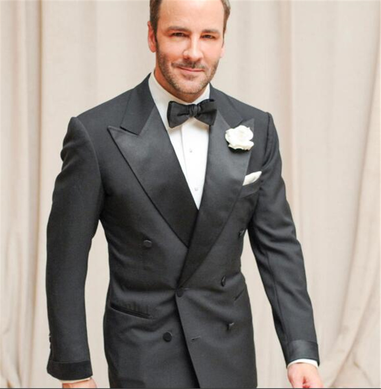 2PCs Black Men Suit(Jackket+Pants) Custom Made Peak Lapel Man Suit Cool Tailor Made Summer Wedding Attire For Men