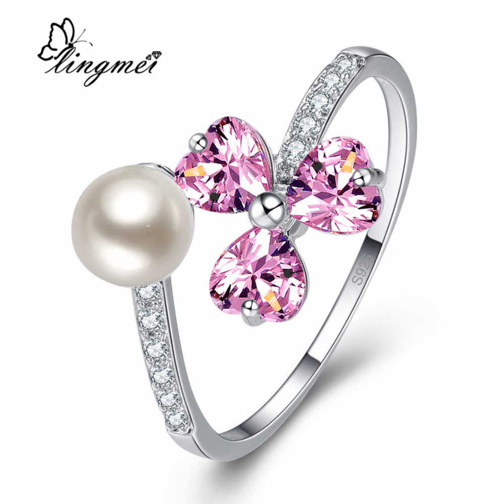 lingmei New Arrival Heart Cut Pink & Multi-Color Silver Ring Size 6 7 8 9 Nice Women Jewelry For Wedding Anniversary Gift