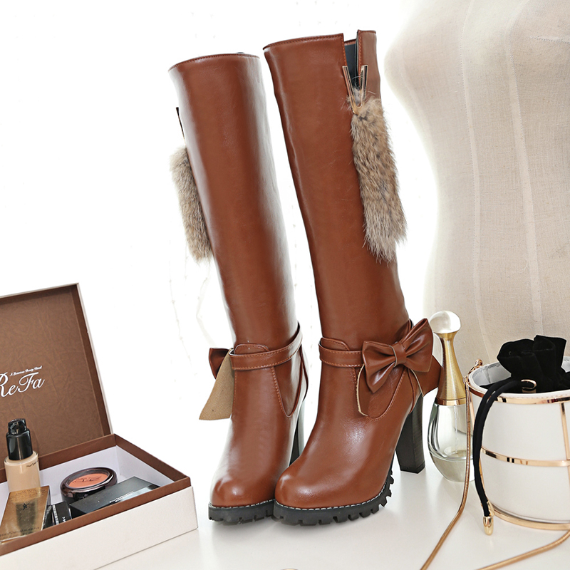 ความตั้งใจเดิมผู้หญิงเข่า รองเท้าบูทสูง Nice Bowtie รอบ Toe ส้นสูงสีดำสีขาวสีน้ำตาลไวน์สีแดงรองเท้าผู้หญิงขนาด 4 13-ใน รองเท้าบู๊ทสูงระดับเข่า จาก รองเท้า บน   2