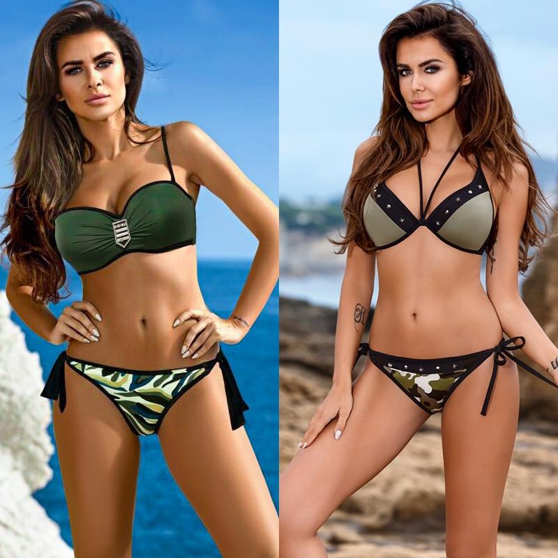 SexeMara push up bikini 2018 women swimsuit female bikini set summer sexy camouflage swimwear girl army green bathing costume XL