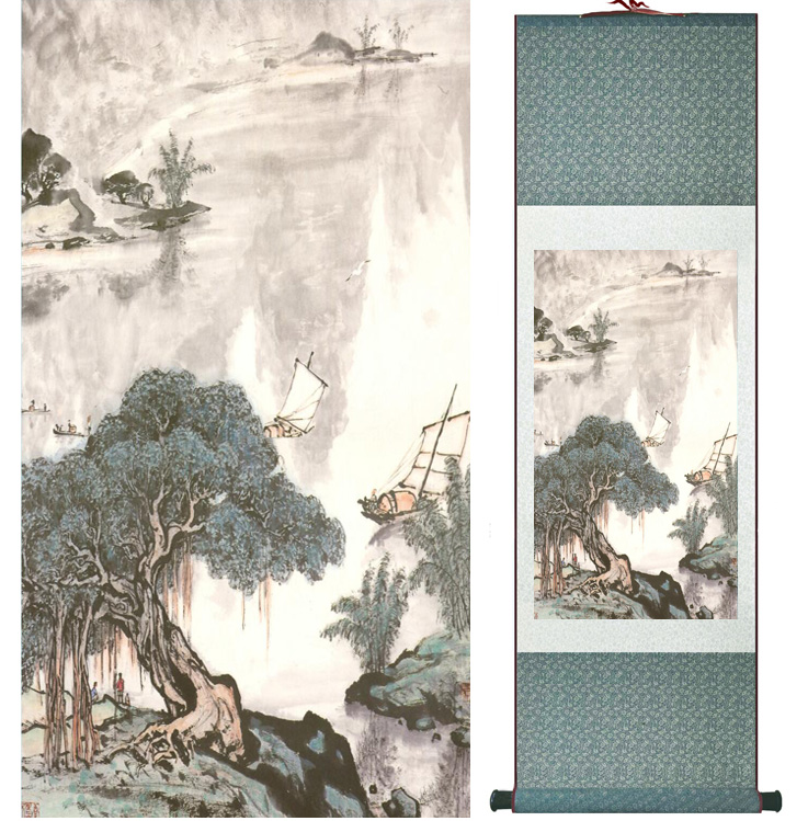 landscape painting Home Office Decoration Chinese scroll painting mountain and River paintingPrinted painting042308