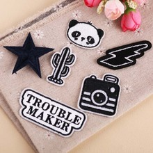 DOUBLEHEE Black And White Element Patches Embroidered Iron On Patch For Clothing Sticker Paste Clothes Bag Pants