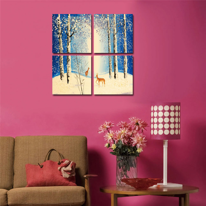 WEEN Cuadros Modulares Snow Forest Deer Framed Picture For Living ...