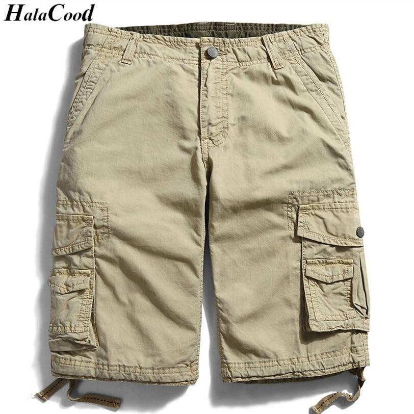 HALACOOD Verão Homens De Algodão Militar Shorts Exército Carga Dos Homens de Verão Shorts Casuais Calças Casuais Plus Size Mais Sacos Macacões Gordura