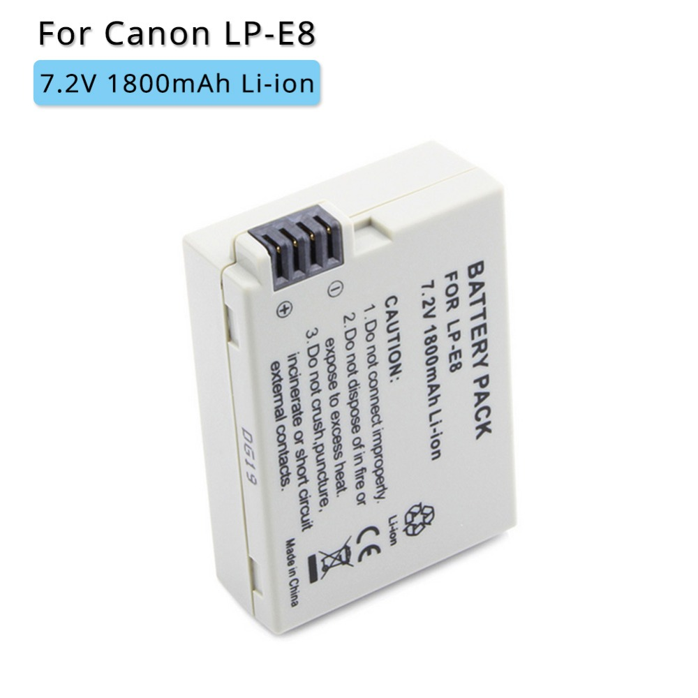 1800mah LP-E8 LPE8 LP E8 Rechargeable Digital Camera <font><b>Battery</b></font> for <font><b>Canon</b></font> EOS <font><b>550D</b></font> 600D 650D 700D X4 X5 X6i X7i T2i T3i T4i T5i image