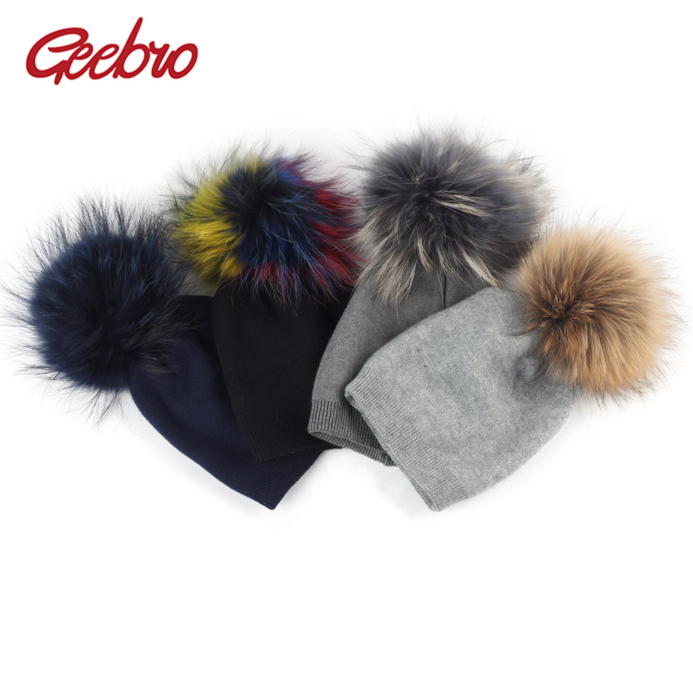 Geebro Newborn Baby   Beanie   Hat Autumn Wool   Skullies     Beanies   with Raccoon Fur Pompom Boys and Girls Slouchy Real Pompon Hat