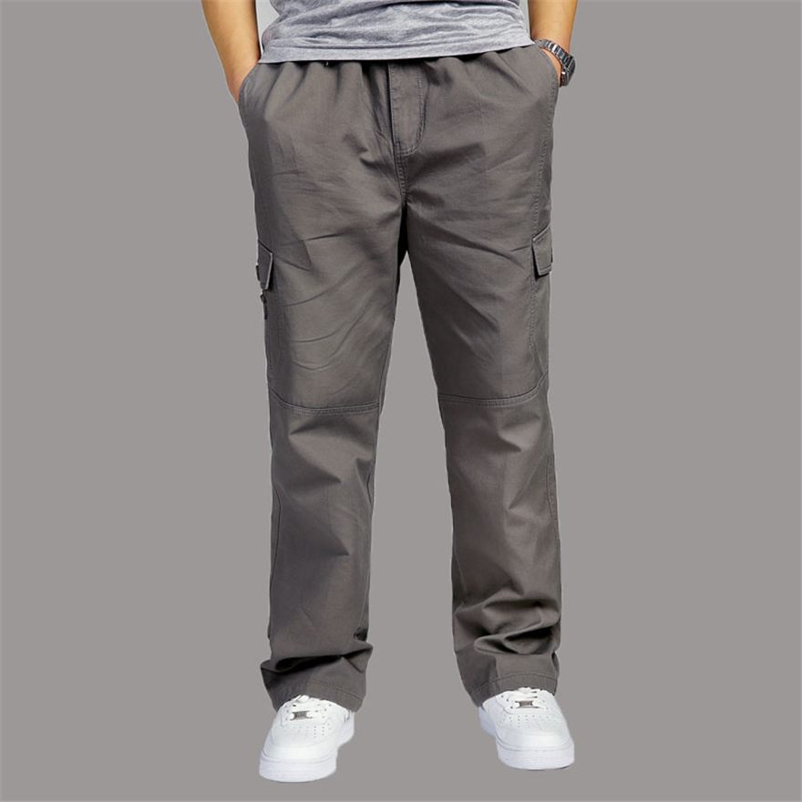 ROSICIL Mens Cargo Pants Cotton Wide Leg Pocket Side Zipper Hip Hop Harem Pants Casual Male Joggers Plus Size 6XL