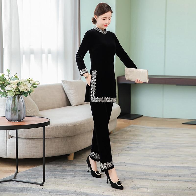 Black Velvet winter suit womens plus size 2 piece set tracksuits co ord set outfit top