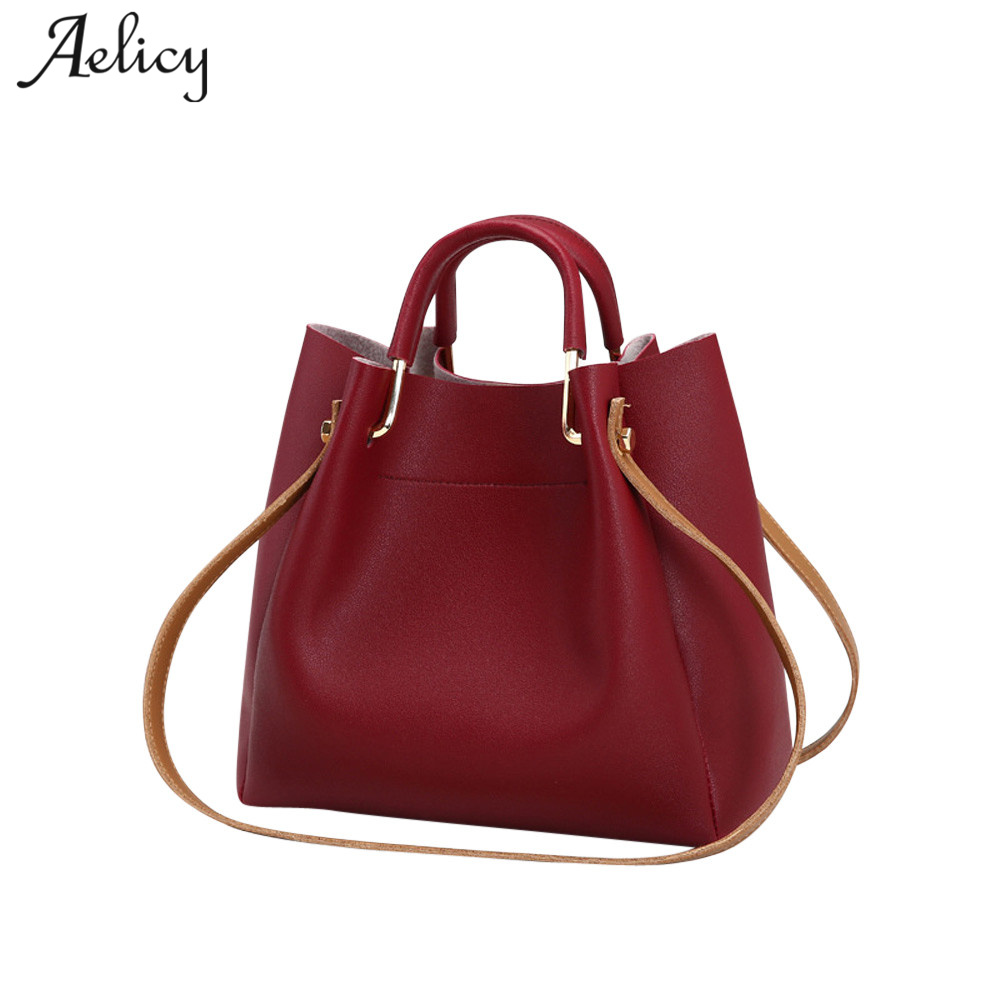 Aelicy Fashion Colorful Bucket Bag Women High Quality Pu Leather Shoulder Bag 2019 New Design Hasp Solid Fake Designer Handbags Сумка
