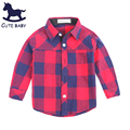 New Style 2016 Children Boys Shirts England Style Cotton Plaid Full shirts kids clothing Boys clothes Blouse for baby 2-12years