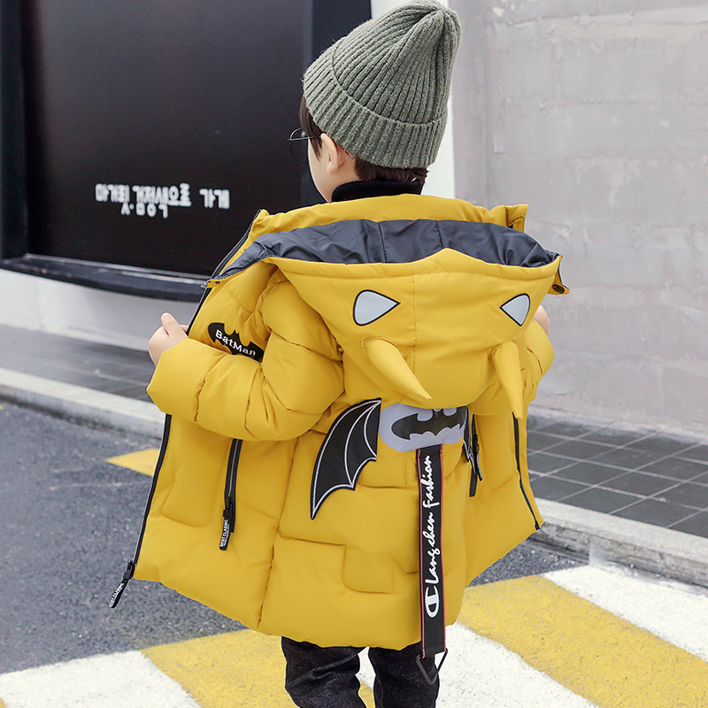 Cute And Cute Cartoon Bat Image Design 3~8 Years Old Children's Down Jacket Winter Thick Warm Mid-length Boy Cotton Coat
