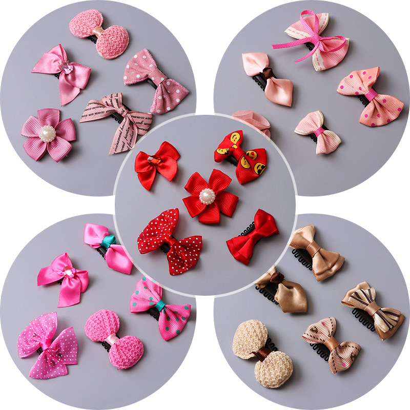 5PCS/lot Original Baby Girls Bow Flower Small Barrettes Newborn Cute Hairpins Headwear Kids Hair Clips Headband Hair Accessories hot 6 colors 1pc girls lovely cat ear hairpin cute barrettes hairclips headwear hair accessories