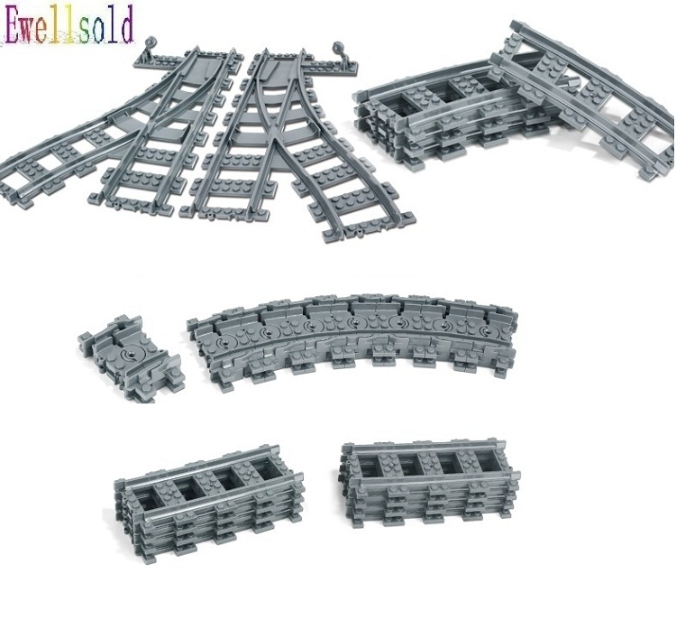 Ewellsold 10PC-100PC City Trains Train Track Rail Straight Rails Building Blocks Set Bricks Model Kids Toys Gifts Compatible
