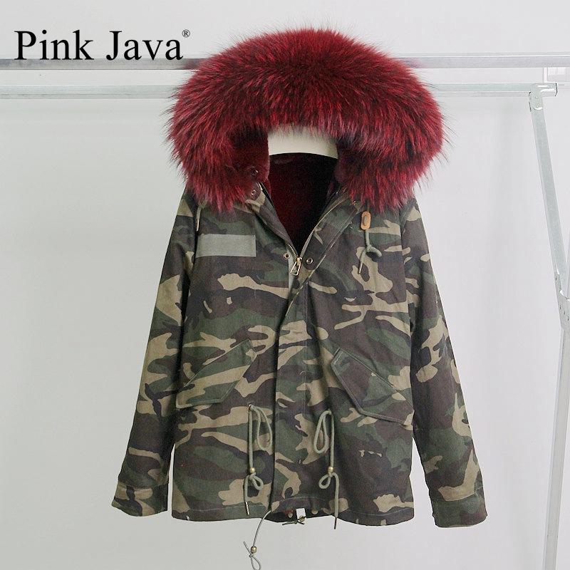 pink java QC8076 free shipping New arrival camoflage parka with fur faux fur lined parka with plus size big real raccoon collar
