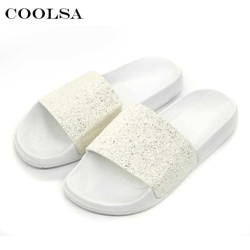 3d500e9f6 COOLSA New Summer Women Bling Slippers Sparkling Flip Flop EVA Flat Non  Slip Slides Home Slipper Lady Casual Beach Sandals Shoes - aliexpress.com -  imall. ...