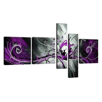 5 Piece Black White Purple Modern Abstract Oil Paintings on Canvas Peacock Pictures Wall Art Drop shipping