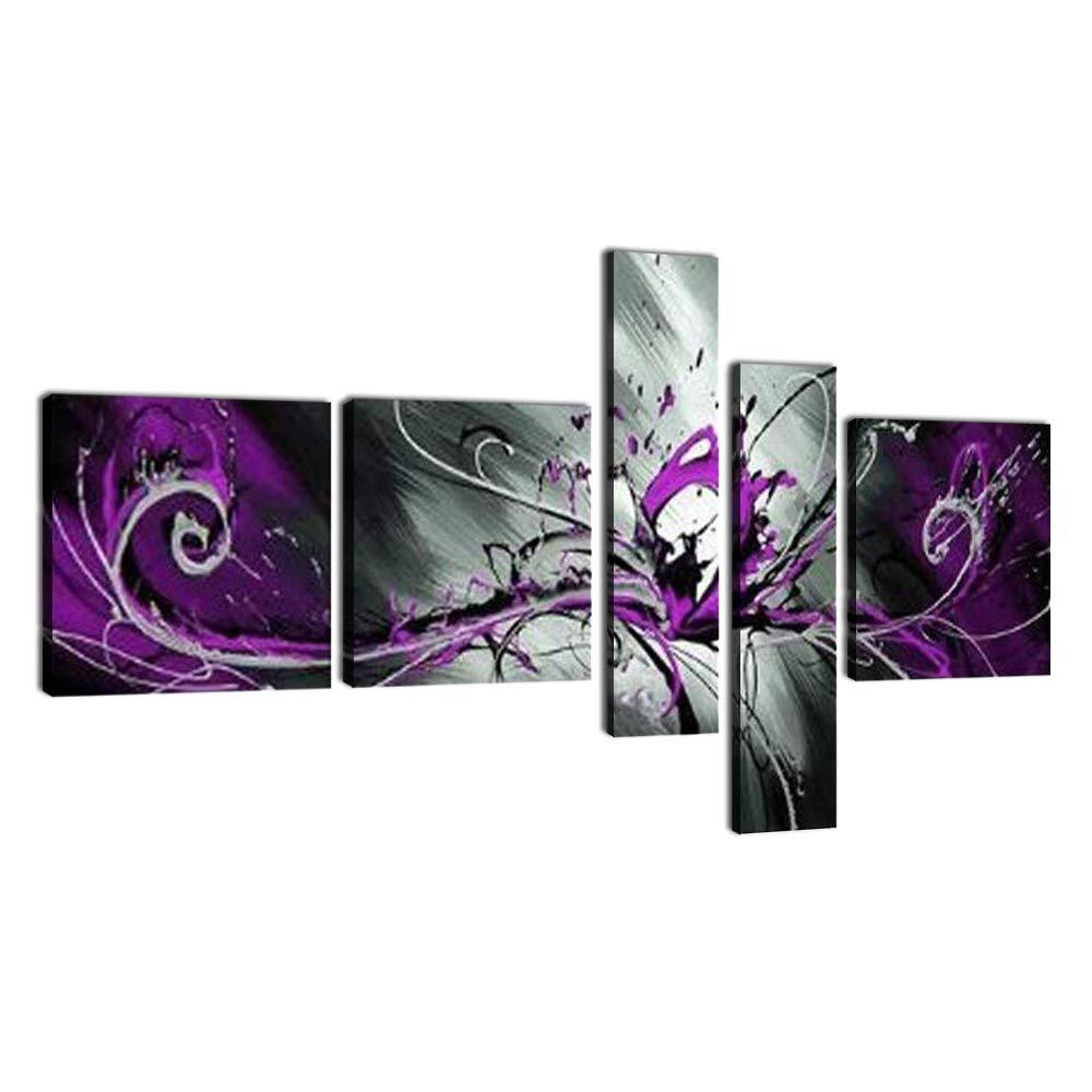 5 pièces noir blanc violet moderne abstraite peintures à l'huile sur toile paon photos mur Art livraison directe