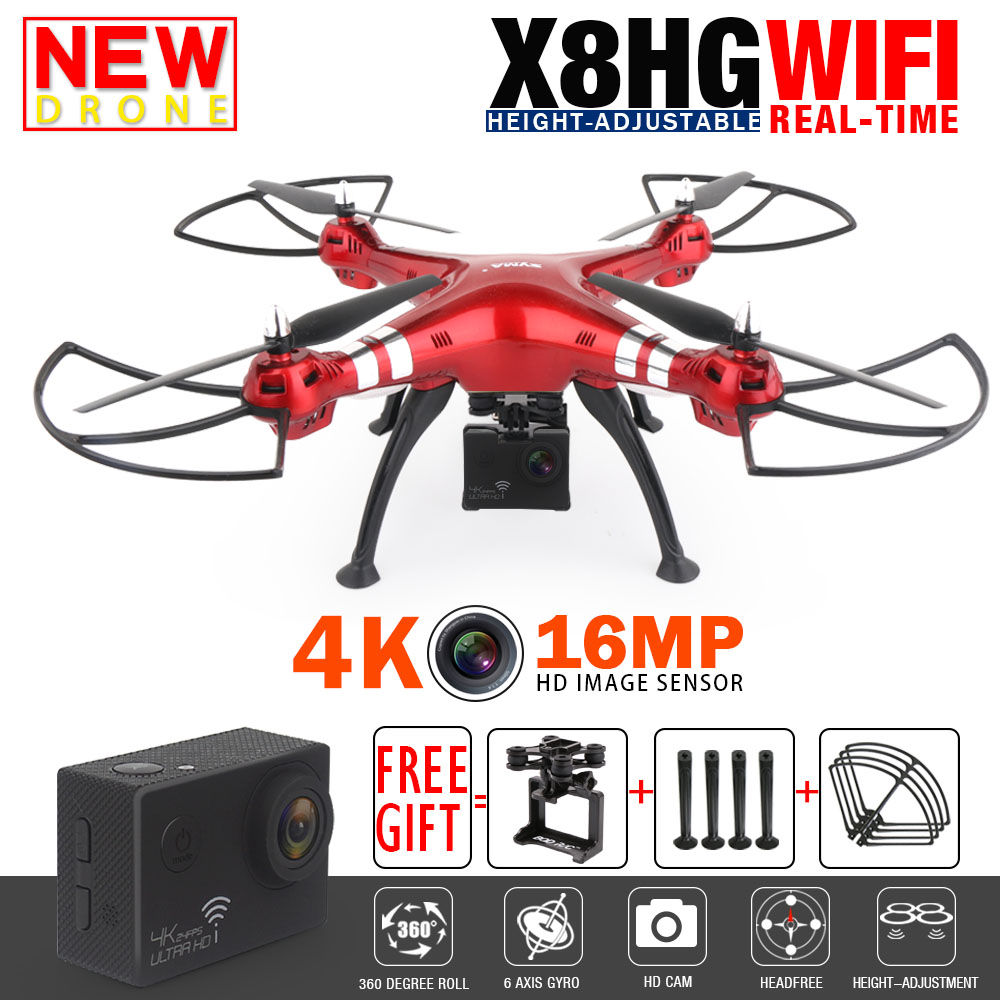 Syma X8HG X8HW X8 FPV RC Drone with 4K/16MP WiFi Camera 2.4G RTF 6-Axis Professional Quadcopter RC Helicopter Toys VS MJX B3 B6 syma x5uw fpv rc quadcopter rc drone with wifi camera 2 4g 6 axis mobile control path flight vs syma x5uc no wifi rc helicopter