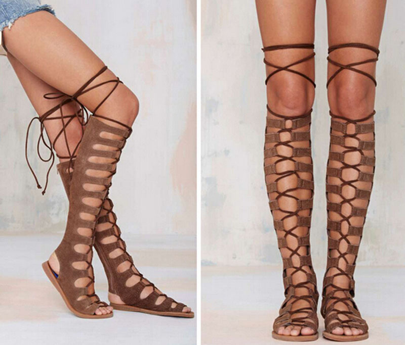 2015 summer woman open toe lace up knee high summer boots cut-outs gladiator flat long boots недорого