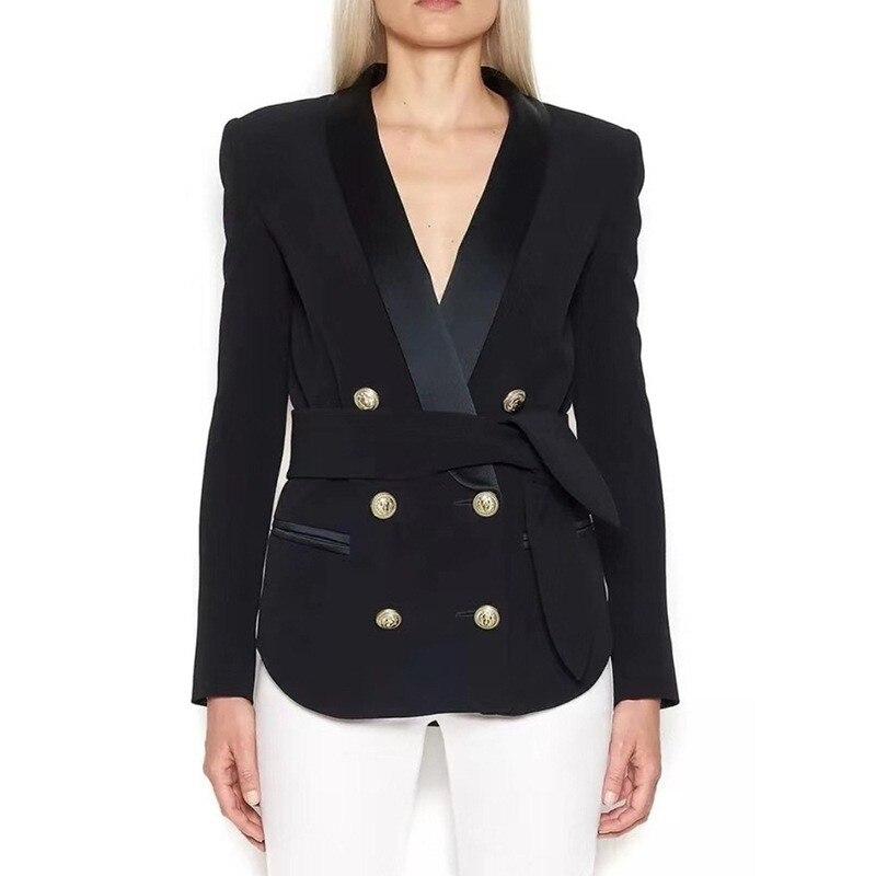 Металлический двубортный Блейзер Elegantes Mujer, шаль, воротник, качество, офисные женские пояса, Женский блейзер, приталенный, плюс размер, S XXL - 2