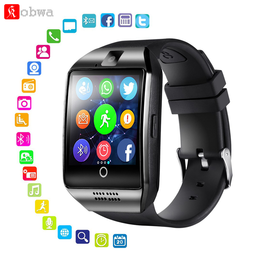 KOBWA Q18 Smart Watch Support Sim TF Card Camera Phone Call Push Message Bluetooth Sport Smartwatch For IOS Android
