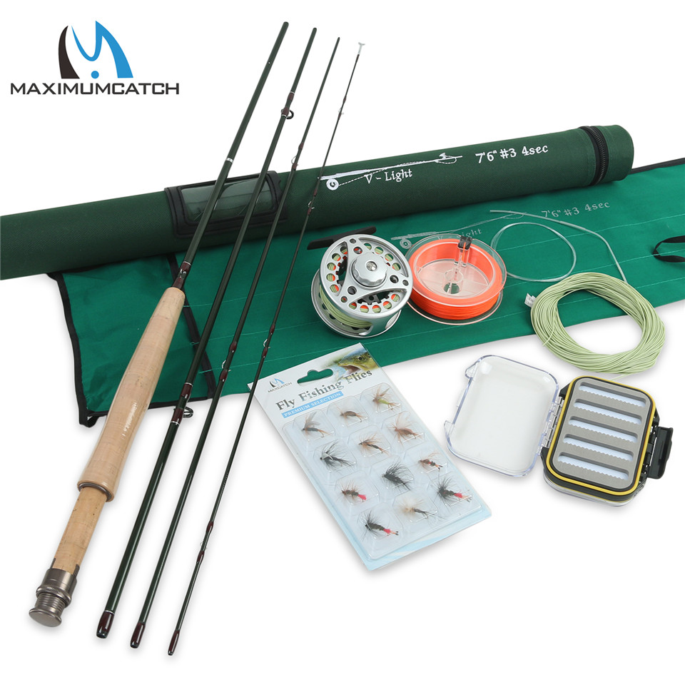 Maximumcatch Fly <font><b>Fishing</b></font> Rod Combo 7.6FT 3WT 4Pcs Fly Rod BLC 3/4WT Fly Reel with Fly Lines Combo
