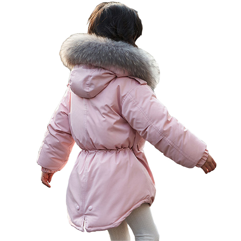 Winter Girls Jacket Coat 2017 Kids Parkas Medium Long Hooded Girls White Duck Down Coat with Fur Thick Warm Outerwear Coat DQ669 children duck down jacket coat with imitation fur boy girl removable hooded overcoat winter warm thick outerwear kid clothes