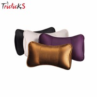 Triclicks Car Leather Neck Headrest Super Soft Memory Foam Auto Seat Cover Head Neck Rest Cushion