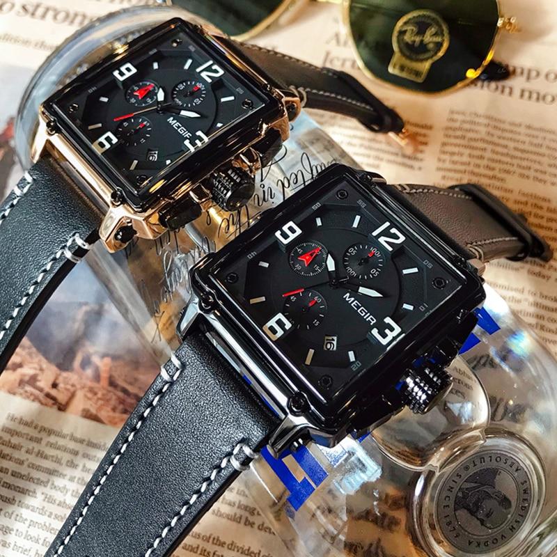 Image 3 - MEGIR Для мужчин большой циферблат Роскошные Лидирующий бренд Кварцевые наручные часы Творческий Бизнес Нержавеющаясталь спортивные часы Для мужчин Relogio MasculinoКварцевые часы   -
