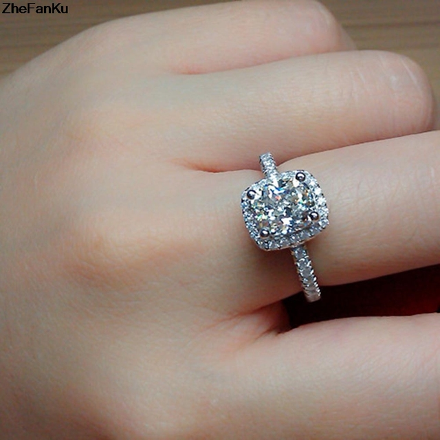 2017 new fashion imitation diamonds engagement ring princess cut halo wedding rings for women aaa grade - Halo Wedding Ring