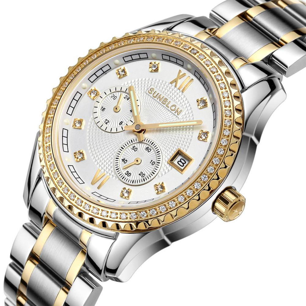 SUNBLON Two-Way Timing Movement Stainless Men's Automatic Mechanical Watch Stainless steel wire mesh Masculinity Top brands new style sunblon s505b stainless steel mechanical skeleton watch golden movement 915