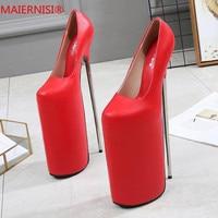 Большие размеры 34 46, Брендовая обувь женская обувь на высоком каблуке туфли лодочки на каблуке 30 см Женская обувь пикантные свадебные туфли
