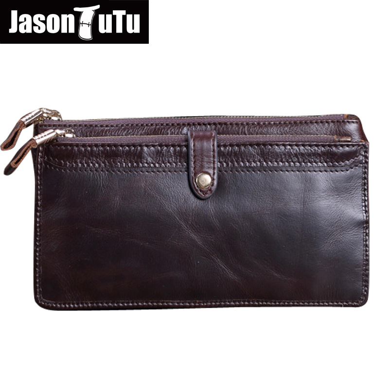 JASON TUTU Men's Clutch Bags Genuine Leather Men Wallet Business Male Purse Double Zipper Purses Organizer Wallets Really Cow banlosen brand men wallets double zipper vintage genuine leather clutch wallets male purses large capacity men s wallet