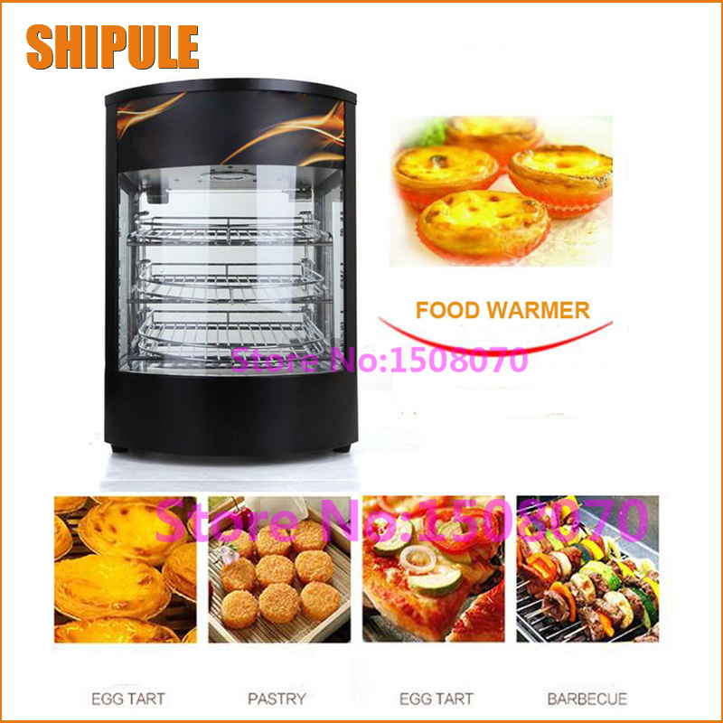 SHIPULE promotion 2018 commercial electric food heating showcase/restaurant curved glass heated food warmer machine price