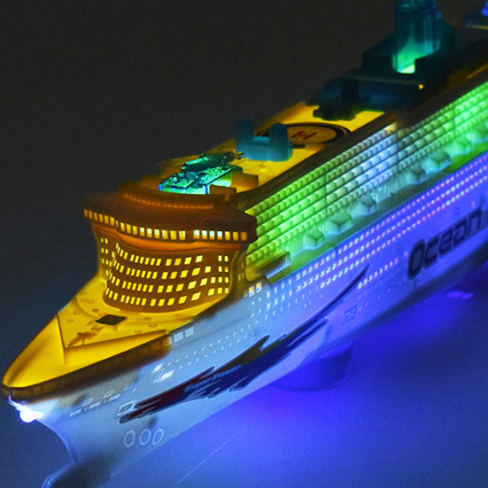 Music Ocean Liner Ship Model Toys Children Electric Automatic Steering Boat Toy Kids Mini Flashing Sound Cruises Ship Model Gift