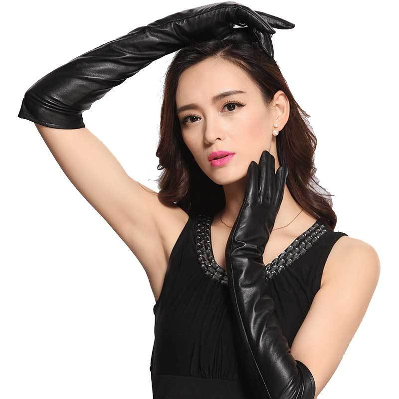Femmes longs gants d'hiver en cuir véritable Luva Motociclista Handschuhe dames noir gants de conduite en peau de mouton mitaine Guantes Mujer