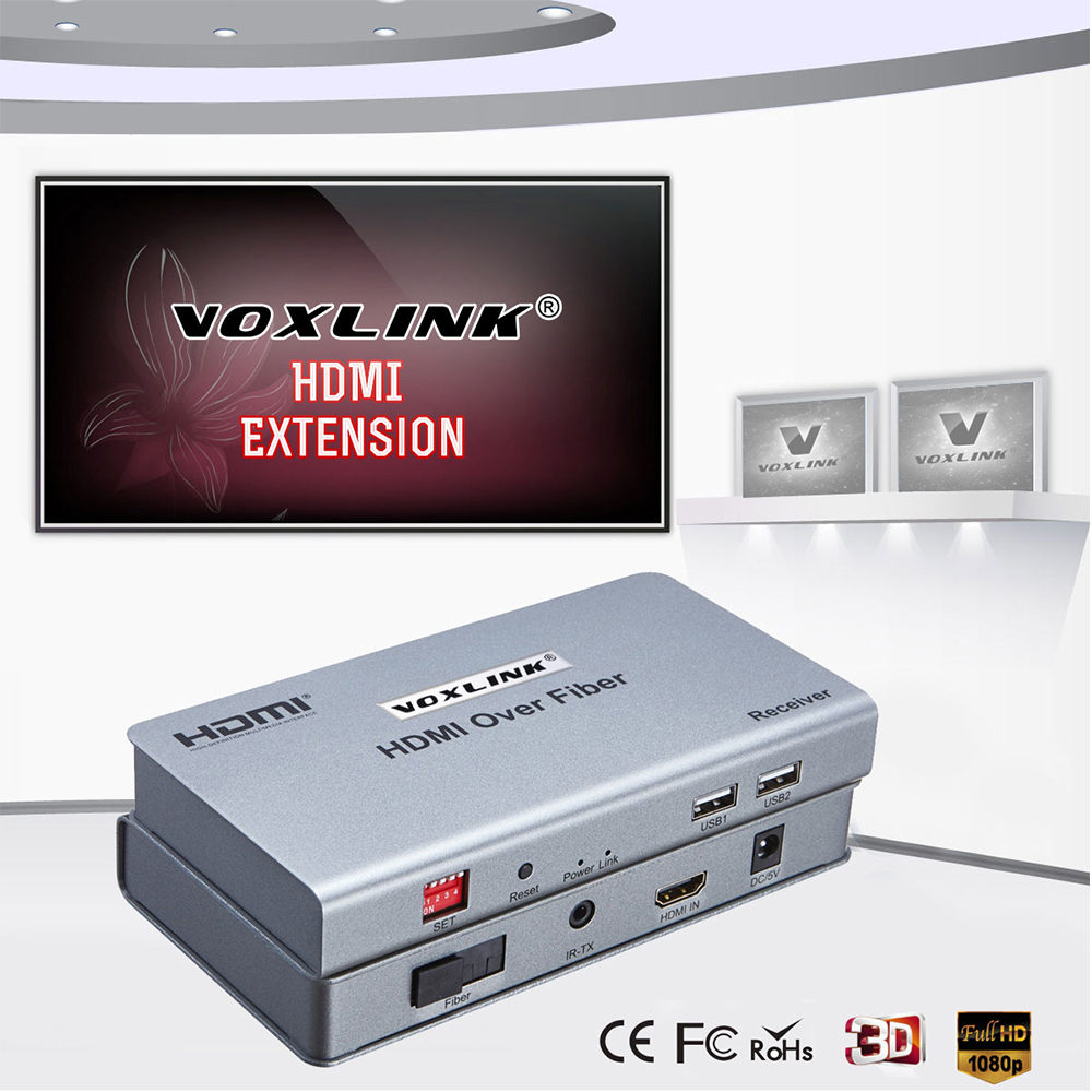 VOXLINK HDMI Extender Over Fiber Video Audio multipoint to multipoint RX/TX signal up to 20KM HDMI1.3 1080p For HDTV PS3 DVD STB