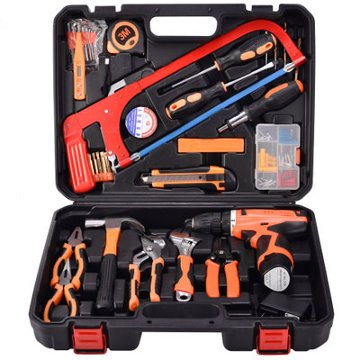 Household Tool Set 52PCS Automatic Saws New 12V Lithium Drill Instrument Set For Repair Hammer Pliers Screwdriver With Toolbox 46pcs socket set 1 4 drive ratchet wrench spanner multifunctional combination household tool kit car repair tools set
