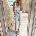 2017 women Fashion chiffon high waist Harem pants bow tie drawstring sweet elastic waist pockets casual trousers DDUP18