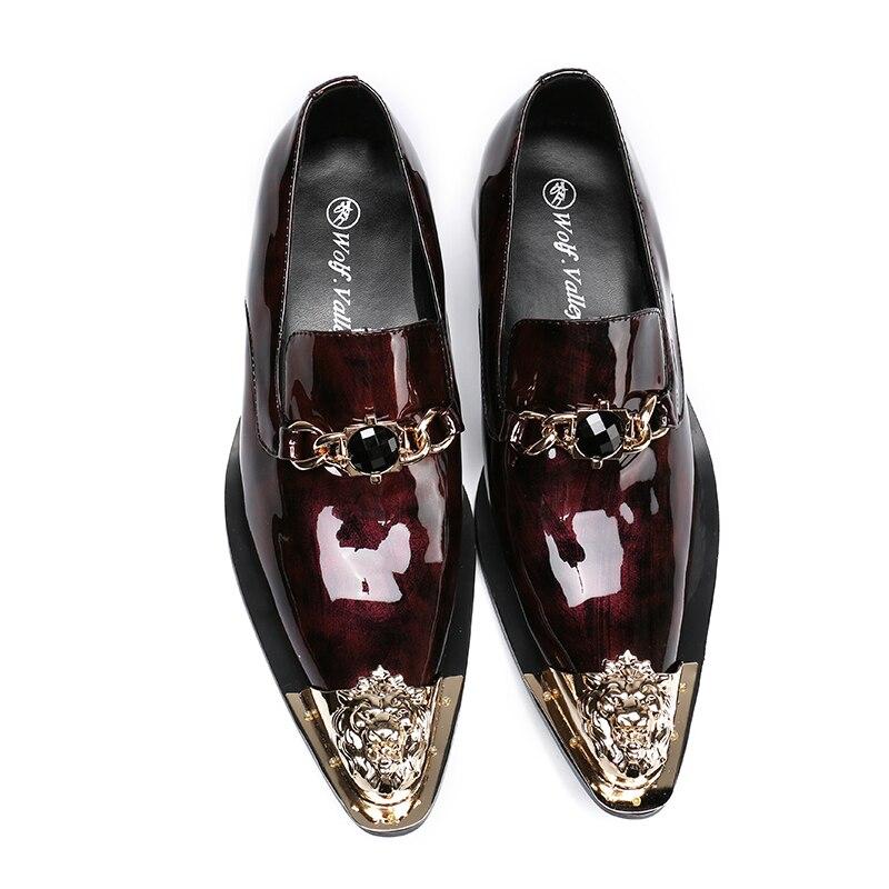 Metallic Vestido Couro Sapatos Toe Moda Vinho Homens Respirável Partido Dos Apontou Vermelho Genuíno Mocassim A36 1qHFHOw