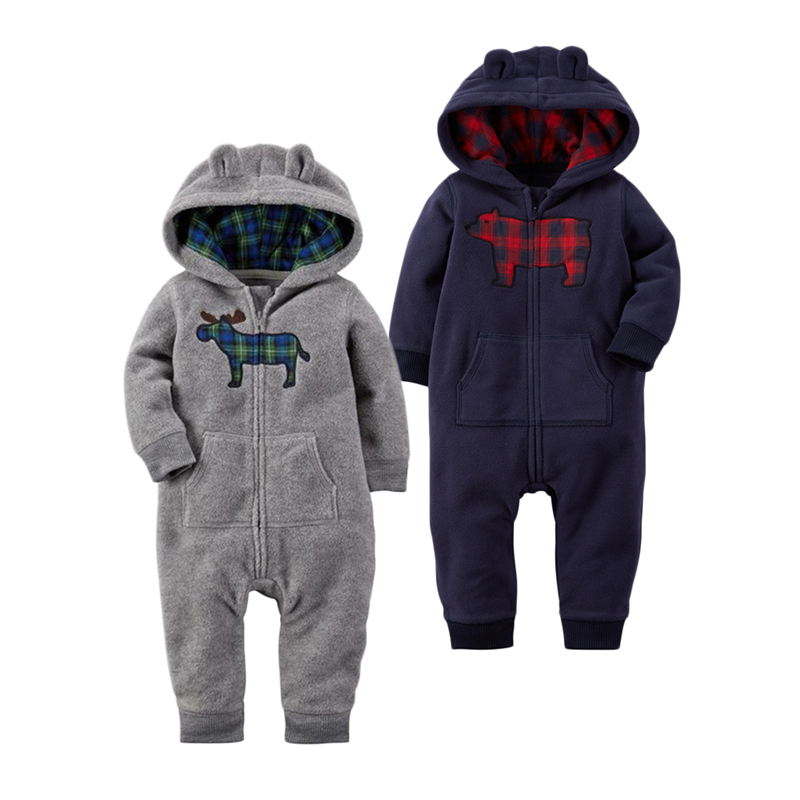 Autumn Winter Newborn Infant Baby Clothes Fleece Jumpsuit Boys Romper Hooded Jumpsuit Bear Blue Grey Baby