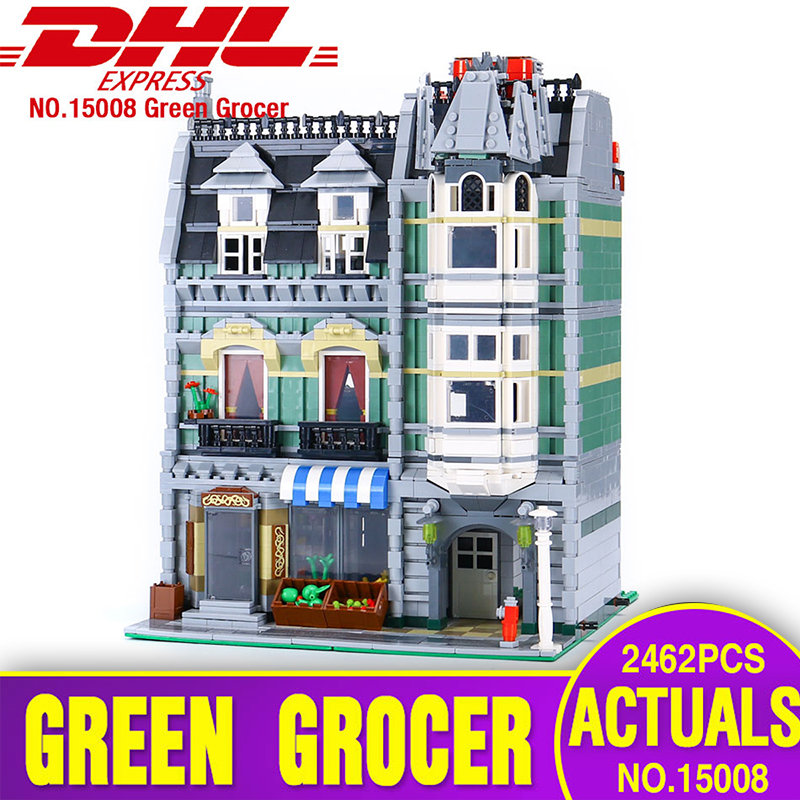 Lepin 15008 2462Pcs City Street Green Grocer Model Building Kits Blocks Bricks Compatible Educational toys 10185 for children lepin 15009 city street pet shop model building kid blocks bricks assembling toys compatible 10218 educational toy funny gift