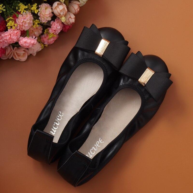 2017 New Fashion font b Womens b font Ladies Ballerina Flat Shoes Round Toe Sweet bowknot