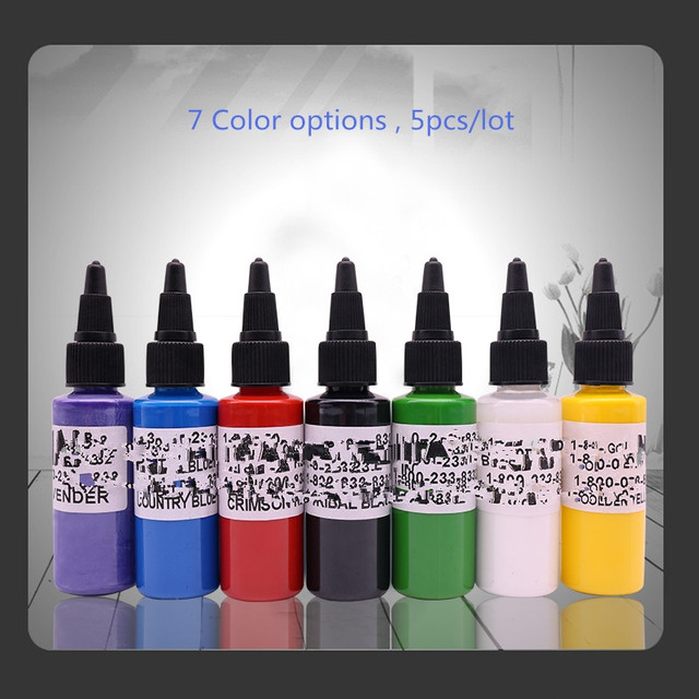 Free Shipping 5 Bottles/Lot Tattoo Ink 30ml/ 1oz / 30g Color Tattoo ...