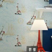 wall rolls Mediterranean style green childrens room wallpapers boy girl bedroom sky blue cartoon sailboat non-woven wallpaper