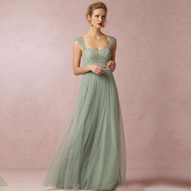 2015 Tulle with Lace   Bridesmaid     Dresses   Sweetheart Neckline Sage Green Princess Long Cheap vestido para madrinha Custom Made